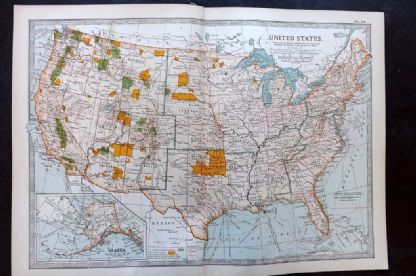 Encyclopaedia Brittannica 1903 Antique Map. United States. USA